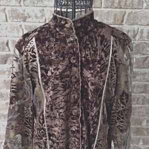 Chico's Tan Brown Jacket Fall Leaves Front Button